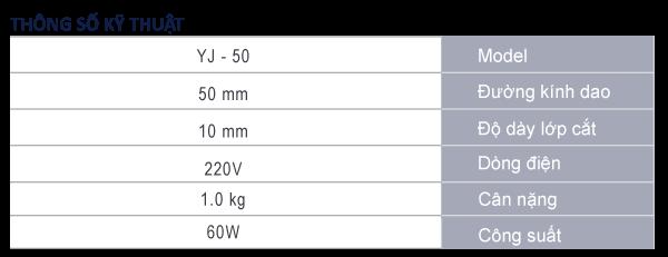 thông số máy cắt vải cầm tay YJ-50