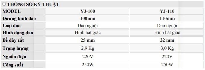 Bảng thông số kỹ thuật máy cắt vải cầm tay JT-100